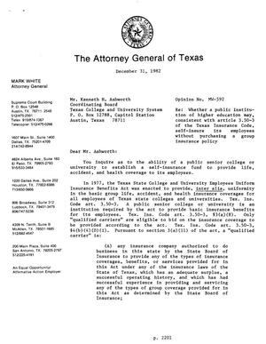 Primary view of object titled 'Texas Attorney General Opinion: MW-592'.