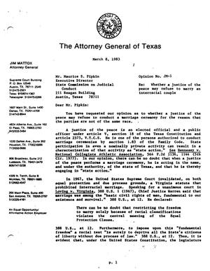 Primary view of object titled 'Texas Attorney General Opinion: JM-1'.