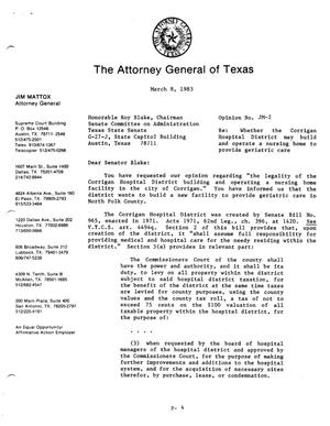 Texas Attorney General Opinion: JM-2