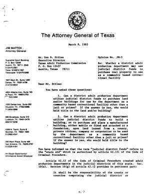 Primary view of object titled 'Texas Attorney General Opinion: JM-3'.