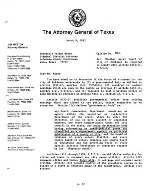 Texas Attorney General Opinion: JM-4