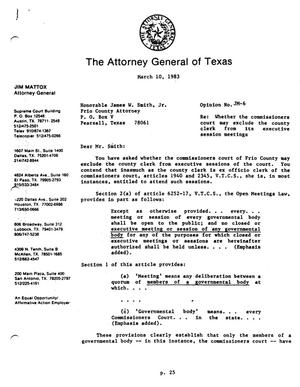 Primary view of object titled 'Texas Attorney General Opinion: JM-6'.