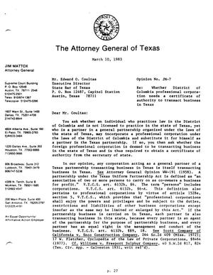 Primary view of object titled 'Texas Attorney General Opinion: JM-7'.