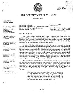 Texas Attorney General Opinion: JM-9