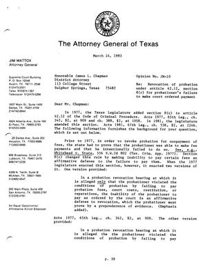Primary view of object titled 'Texas Attorney General Opinion: JM-10'.