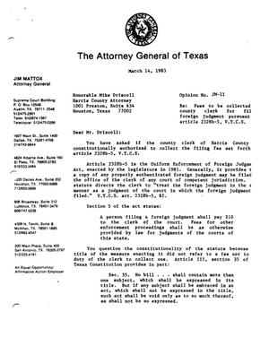 Primary view of object titled 'Texas Attorney General Opinion: JM-11'.
