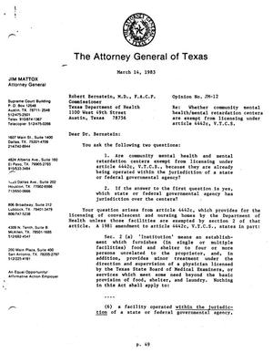Primary view of object titled 'Texas Attorney General Opinion: JM-12'.