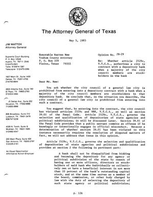 Primary view of Texas Attorney General Opinion: JM-29
