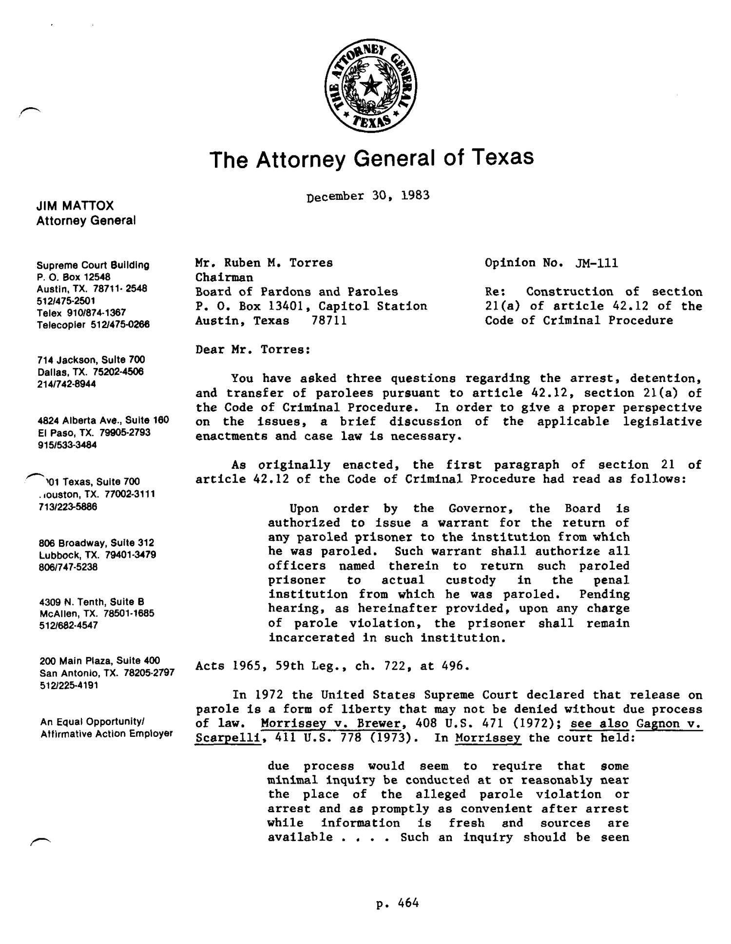 Texas Attorney General Opinion: JM-111                                                                                                      [Sequence #]: 1 of 6