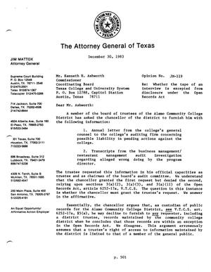 Primary view of object titled 'Texas Attorney General Opinion: JM-119'.