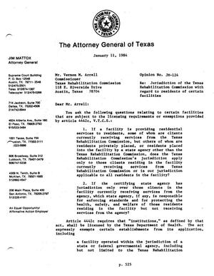 Primary view of object titled 'Texas Attorney General Opinion: JM-124'.