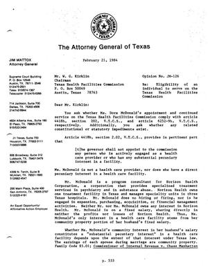 Primary view of object titled 'Texas Attorney General Opinion: JM-126'.
