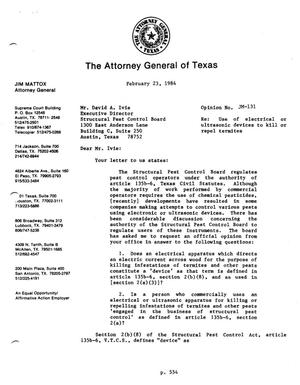 Primary view of object titled 'Texas Attorney General Opinion: JM-131'.