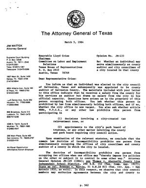 Primary view of object titled 'Texas Attorney General Opinion: JM-133'.