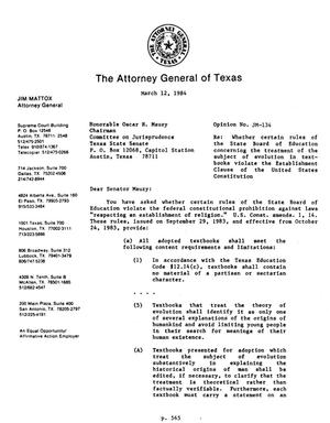 Primary view of object titled 'Texas Attorney General Opinion: JM-134'.