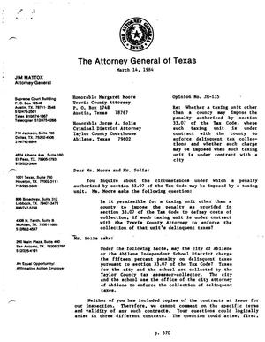 Primary view of object titled 'Texas Attorney General Opinion: JM-135'.