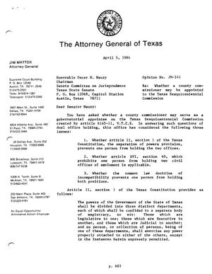 Primary view of object titled 'Texas Attorney General Opinion: JM-141'.