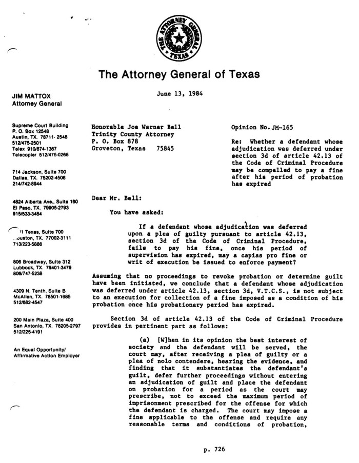 Texas Attorney General Opinion: JM-165 - The Portal to Texas History
