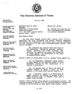 Primary view of object titled 'Texas Attorney General Opinion: JM-330'.