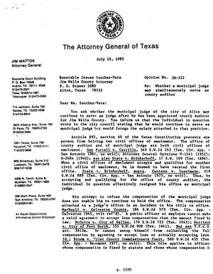 Primary view of object titled 'Texas Attorney General Opinion: JM-333'.