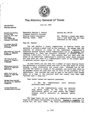 Primary view of object titled 'Texas Attorney General Opinion: JM-334'.