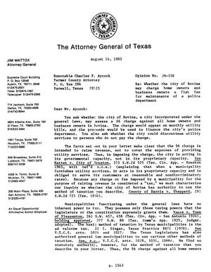 Primary view of object titled 'Texas Attorney General Opinion: JM-338'.