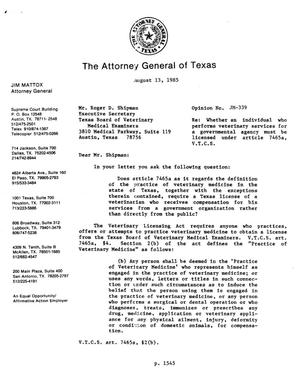 Primary view of object titled 'Texas Attorney General Opinion: JM-339'.