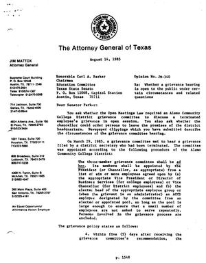 Primary view of object titled 'Texas Attorney General Opinion: JM-340'.