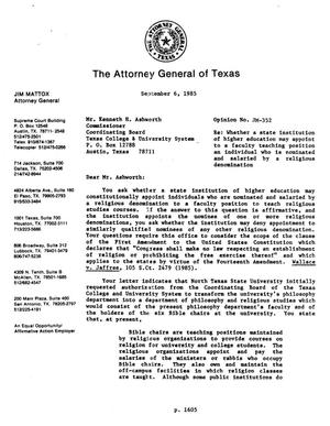 Primary view of object titled 'Texas Attorney General Opinion: JM-352'.