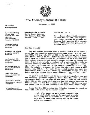 Primary view of object titled 'Texas Attorney General Opinion: JM-357'.