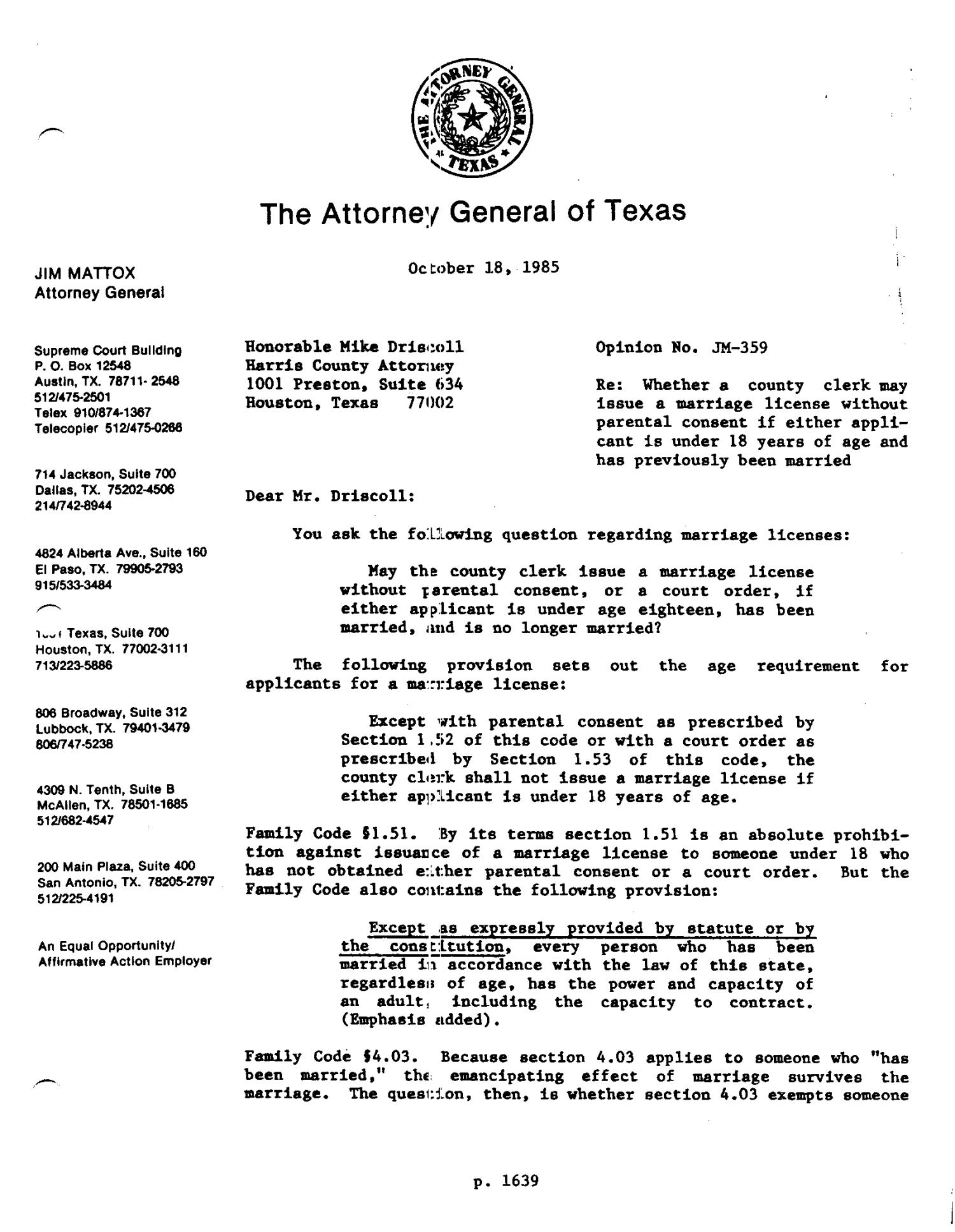 Texas Attorney General Opinion: JM-359 - Page 1 of 6 - The