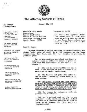 Primary view of object titled 'Texas Attorney General Opinion: JM-364'.