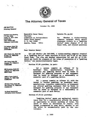 Primary view of object titled 'Texas Attorney General Opinion: JM-368'.