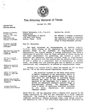 Primary view of object titled 'Texas Attorney General Opinion: JM-369'.