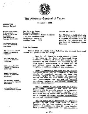 Primary view of Texas Attorney General Opinion: JM-375
