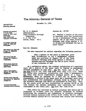 Primary view of object titled 'Texas Attorney General Opinion: JM-380'.