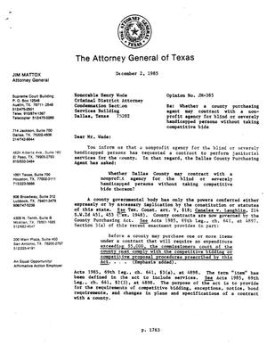 Primary view of object titled 'Texas Attorney General Opinion: JM-385'.