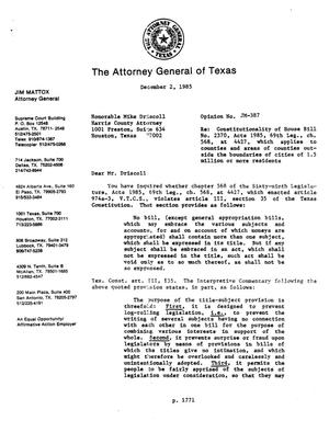 Primary view of object titled 'Texas Attorney General Opinion: JM-387'.