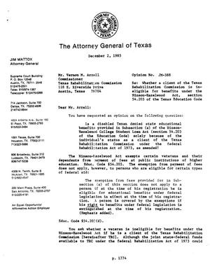 Primary view of object titled 'Texas Attorney General Opinion: JM-388'.