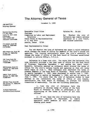 Primary view of object titled 'Texas Attorney General Opinion: JM-389'.