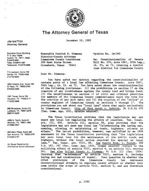 Primary view of object titled 'Texas Attorney General Opinion: JM-390'.
