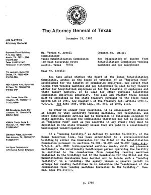 Primary view of object titled 'Texas Attorney General Opinion: JM-391'.