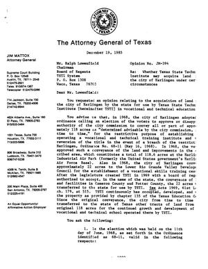 Primary view of object titled 'Texas Attorney General Opinion: JM-394'.