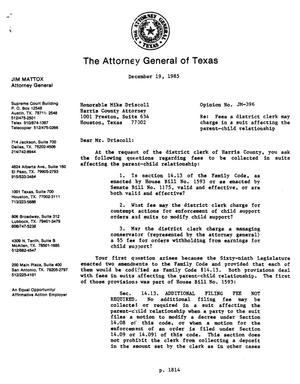 Primary view of object titled 'Texas Attorney General Opinion: JM-396'.