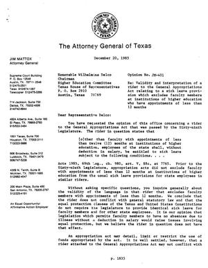 Primary view of object titled 'Texas Attorney General Opinion: JM-401'.