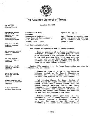 Primary view of object titled 'Texas Attorney General Opinion: JM-402'.