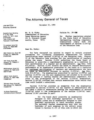 Primary view of object titled 'Texas Attorney General Opinion: JM-408'.