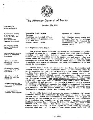 Primary view of object titled 'Texas Attorney General Opinion: JM-409'.