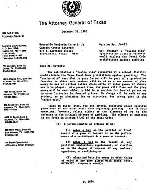 Primary view of object titled 'Texas Attorney General Opinion: JM-412'.