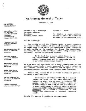 Primary view of object titled 'Texas Attorney General Opinion: JM-431'.